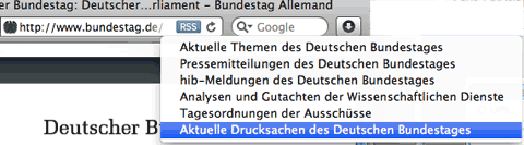 Bundestag Website RSS Feeds