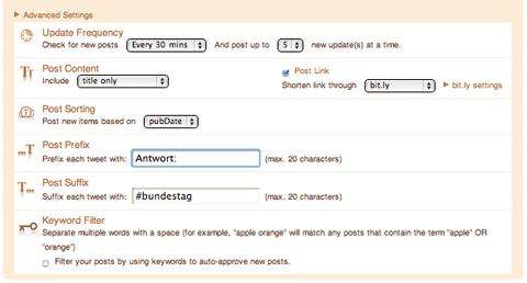 twitterfeed settings advanced
