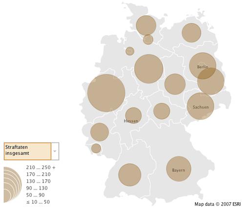 Ausschnitt Karte Deutschland Many Eyes rechte Straftaten Mai 2010